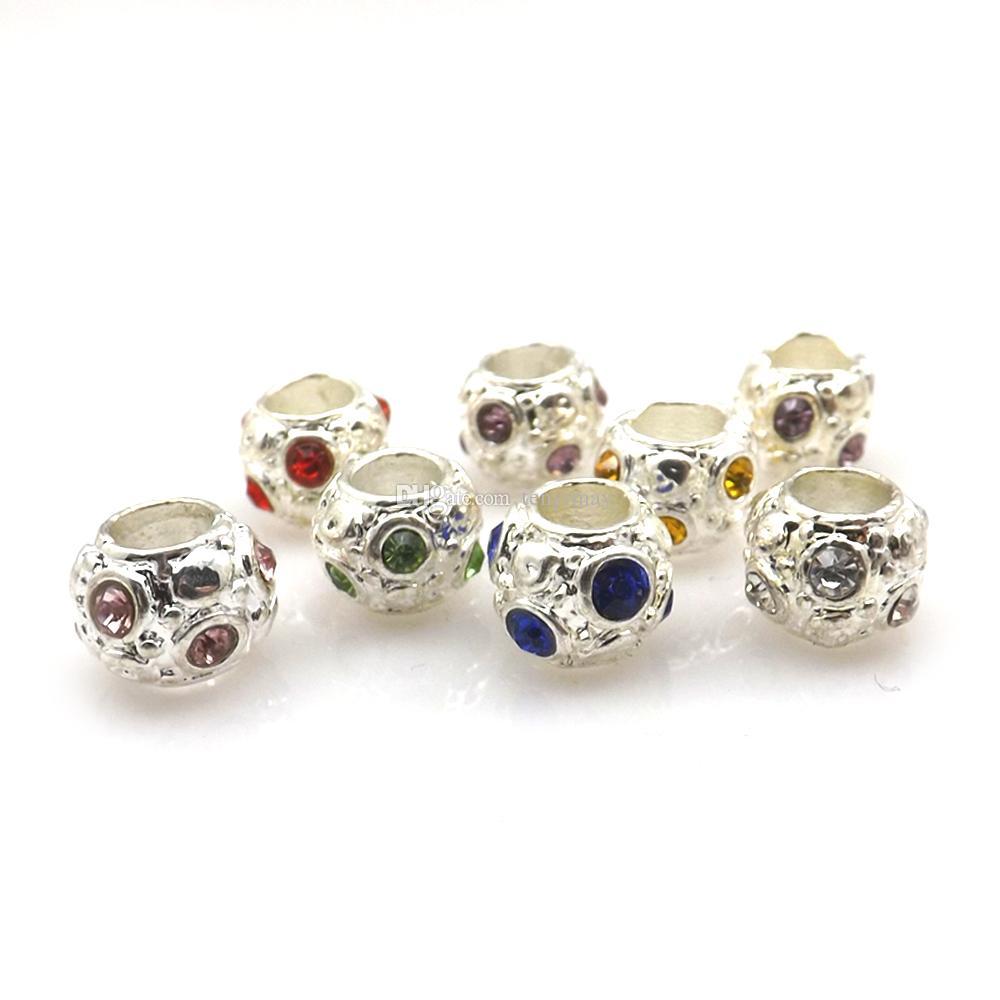 الفضة لوحة الحفرة الكبيرة فضفاض الخرز مختلطة 100 قطع كريستال جولة سبائك سحر الخرز صالح مجوهرات diy