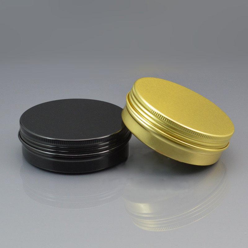 100 г/мл пустые черные / золотые алюминиевые кремовые банки с винтовой крышкой, косметическая банка, алюминиевые банки