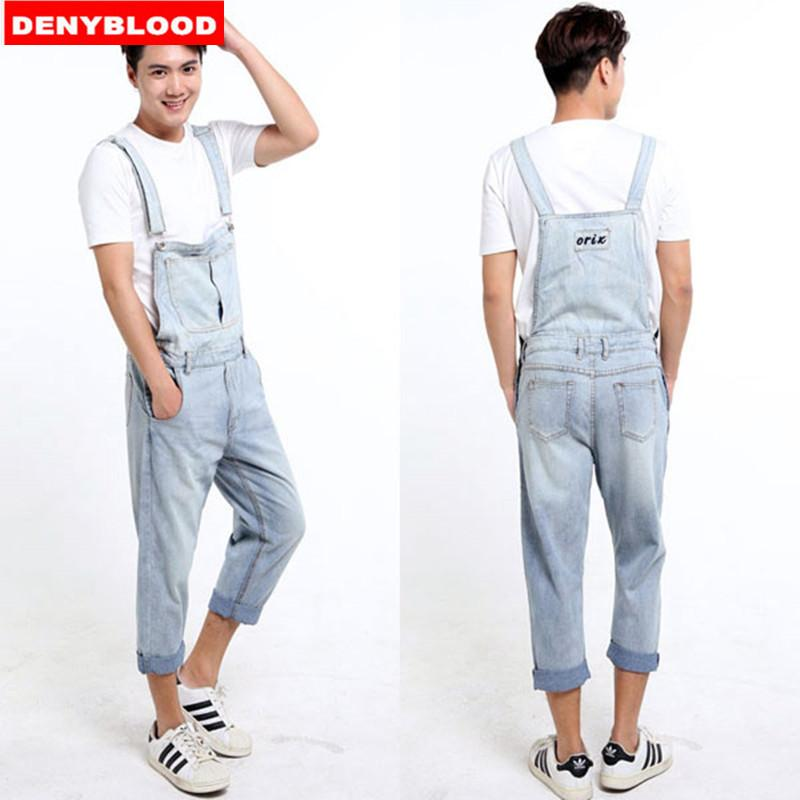 boy high quality matching in colour 2019 Wholesale Plus Size S 5XL Mens Denim Overalls Dark Washed Bleach Jeans  Capris Loose Fit Cargo Pants Baggy Work Jeans Casual Pants 33143 From ...