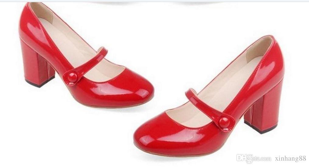 Na primavera de 2016, o novo single shoes, grosso com o feminino Outono mulher redonda cabeça sapatos FuRuiSource