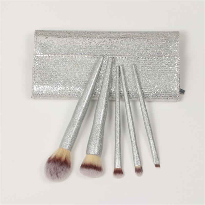 Good Quality 5pcs/Set Professional Makeup Brushes Shiny Silver Pearlescent Beauty Brush with Pu Case Pincel Maquiagem