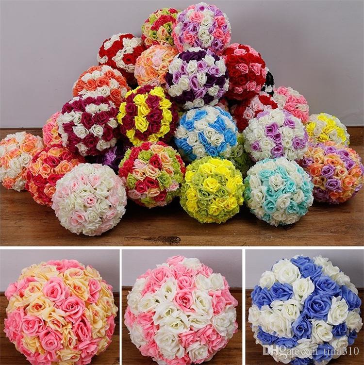 düğün bahçe pazar dekorasyon I090 için yeni 15/17 / 20cm Düğün ipek Pomander Öpüşme Topu çiçek top süslemeleri çiçek yapay çiçek
