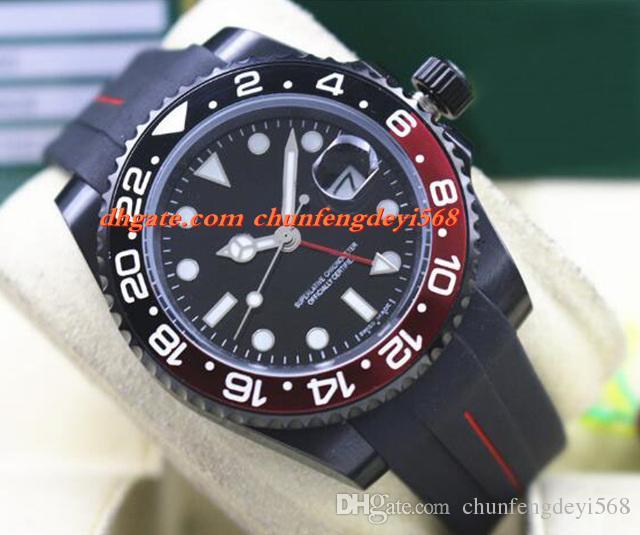 Arbeiten Sie Luxuxuhr 116710 40mm keramische Einfassung BATMAN PVD um, die schwarzes / rotes Gummiarmband-automatische Bewegungs-Mann-Uhren-neue Ankunft versendet