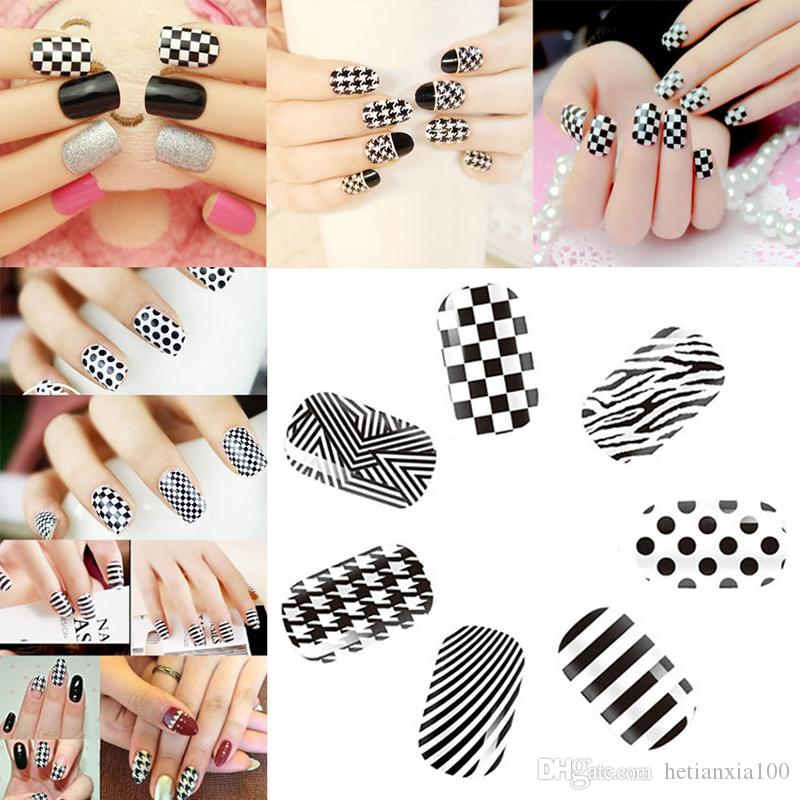 Black White Nail Art Manicure Tips Stickers Water Transfer Decals DIY Environmental protection nail stickers