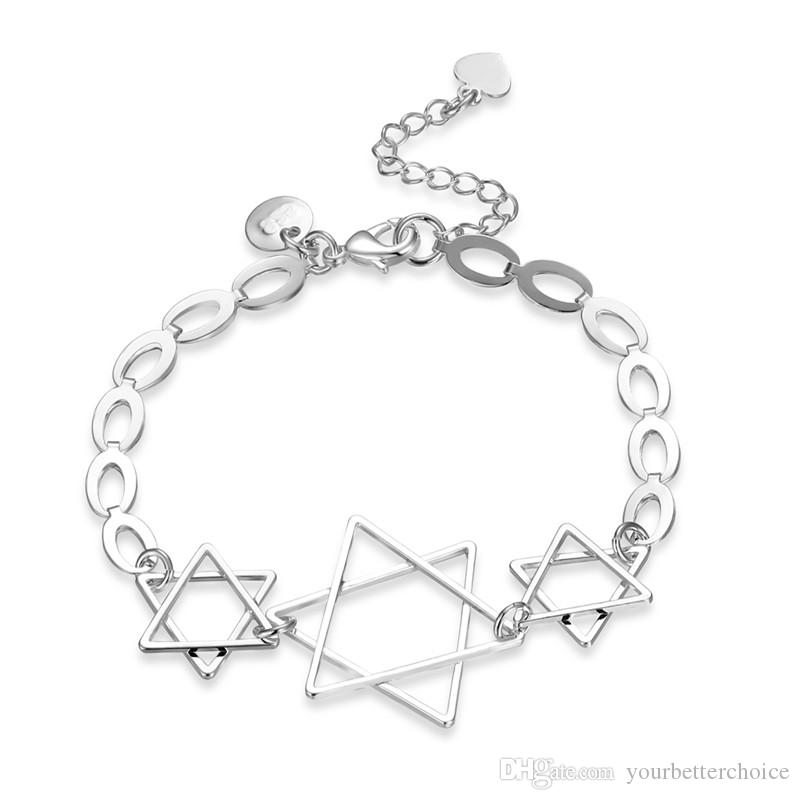 Trendy Design Silver Plated Brass Metal Six-Pointed Star Charms Simple Design Bracelet for Girls Free Shipping