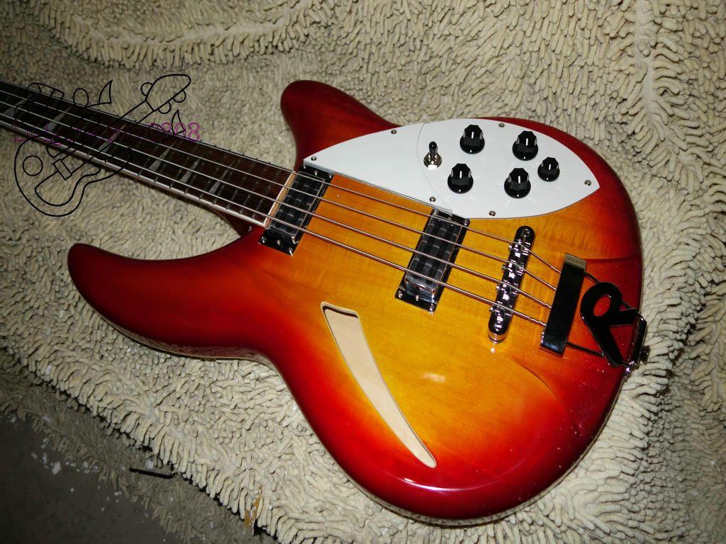 Chitarra elettrica all'ingrosso di alta qualità Semi Cava Cherry Red 4 corde basso elettrico