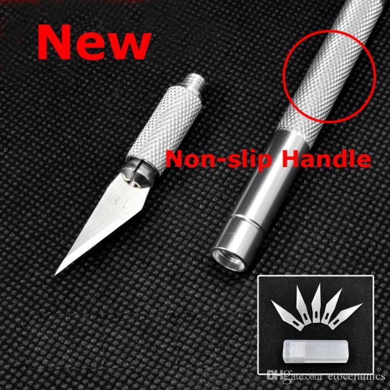 Non-Slip Metal Scalpel Cutter Tool Engraving Craft 5pcs Blades Set UK