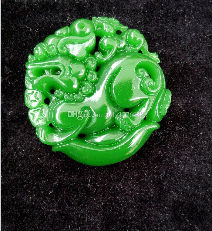 CHINESE OLD HANDWORK GREEN STONE CARVED JADE KIRIN PENDANT A91