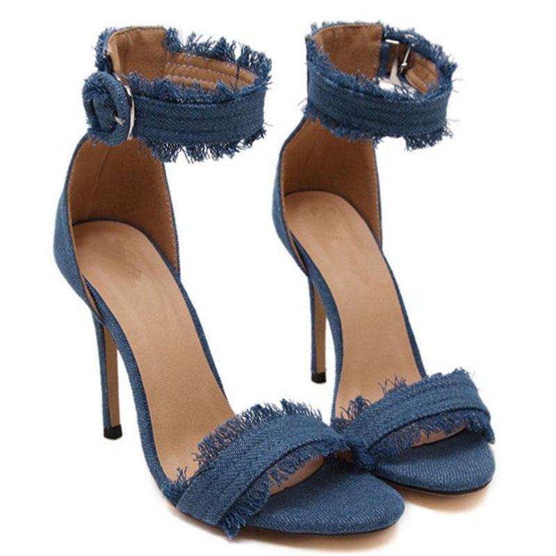 Décolleté Moda Tacchi alti Scarpe da sposa Scarpe da donna Chaussure Femme Denim Sandali con tacco alto Zapatos Mujer Tacones