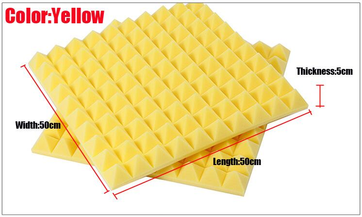 Желтый пирамида акустическая пена 50x50x5cm акустическая студия звукоизоляция пена звукопоглощение губка пирамида плитка стеновые панели для музыкальных номеров