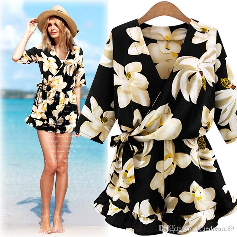 New women jumpsuits rompers plus size elegant jumpsuit V-neck one piece pants jumpsuits fashion flowers romper jumpsuits for women clothing