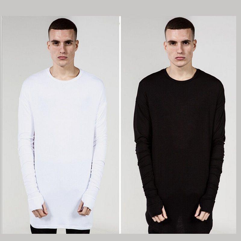 New Thumb Hole Cuffs long sleeve Tyga Swag Style Man High Low Side Split Hip Hop Top Tee T Shirt Crew T-shirt Men Clothes