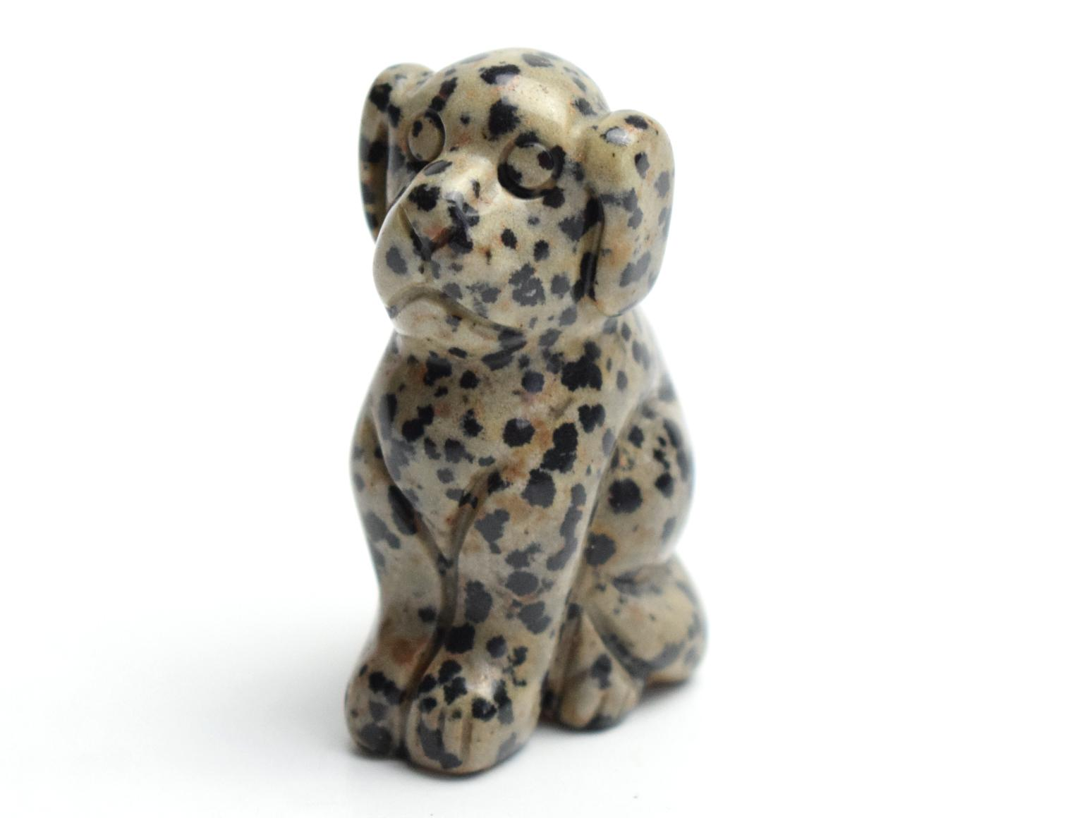 2.0 INCHES Natural Dalmation Jasper Carved Crystal Reiki Healing Dog Statue Animal Totem Sculpture