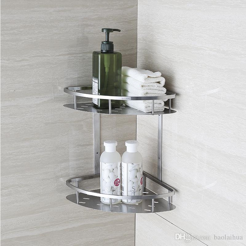 Blh821 Double Tier Brushed Nickel Stainless Steel Wall Bathroom Shelf Shower Caddy Rack Accessories Shelves