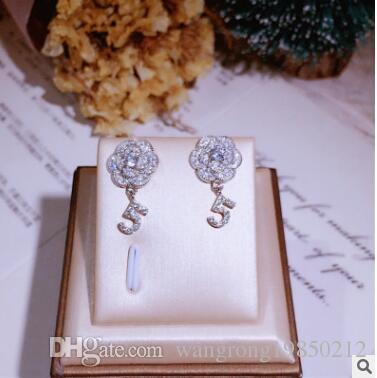 925 스털링 실버 다이아몬드 NO 5 디지털 동백 귀걸이 지속적인 컬러 알레르기 무료 귀걸이 반지