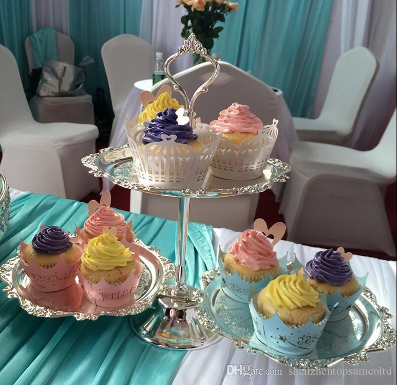 Nozze d'argento del metallo Bakery 2 strati Dessert vassoio di frutta di matrimoni Dessert Decoration