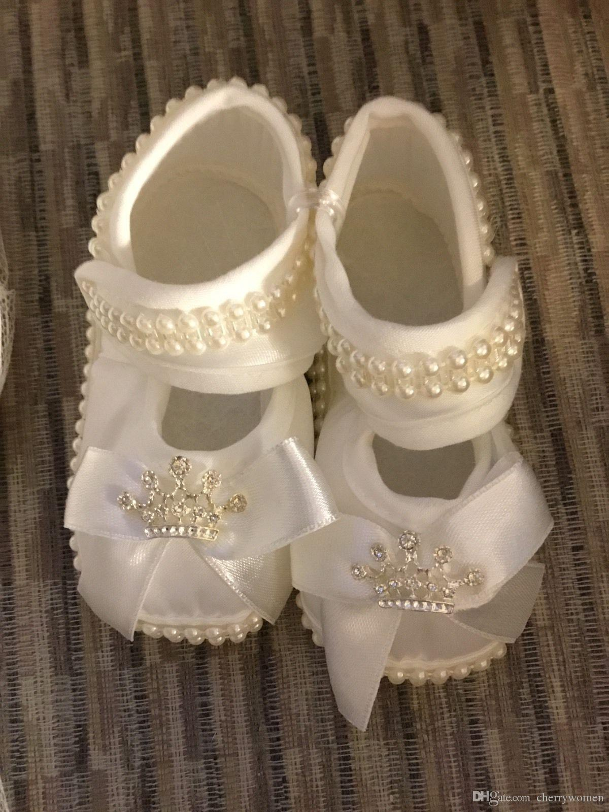 Baby Girls Christening Shoes Booties Party Ivory Satin Shoes