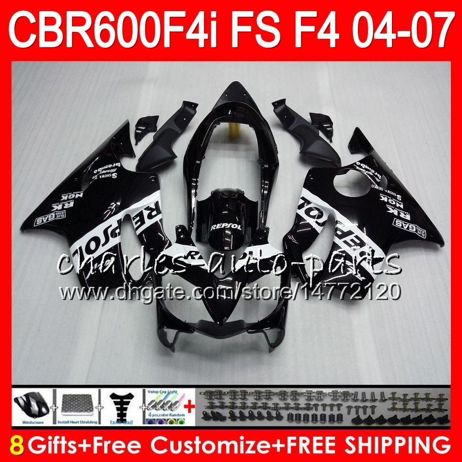 8Gifts 23Colors per Honda CBR 600 F4i CBR600F4i 04 05 06 07 AAHM2 CBR600FS FS CBR600 F4i CBR 600F4i 2004 2005 2006 2007 Repsol carenatura nera