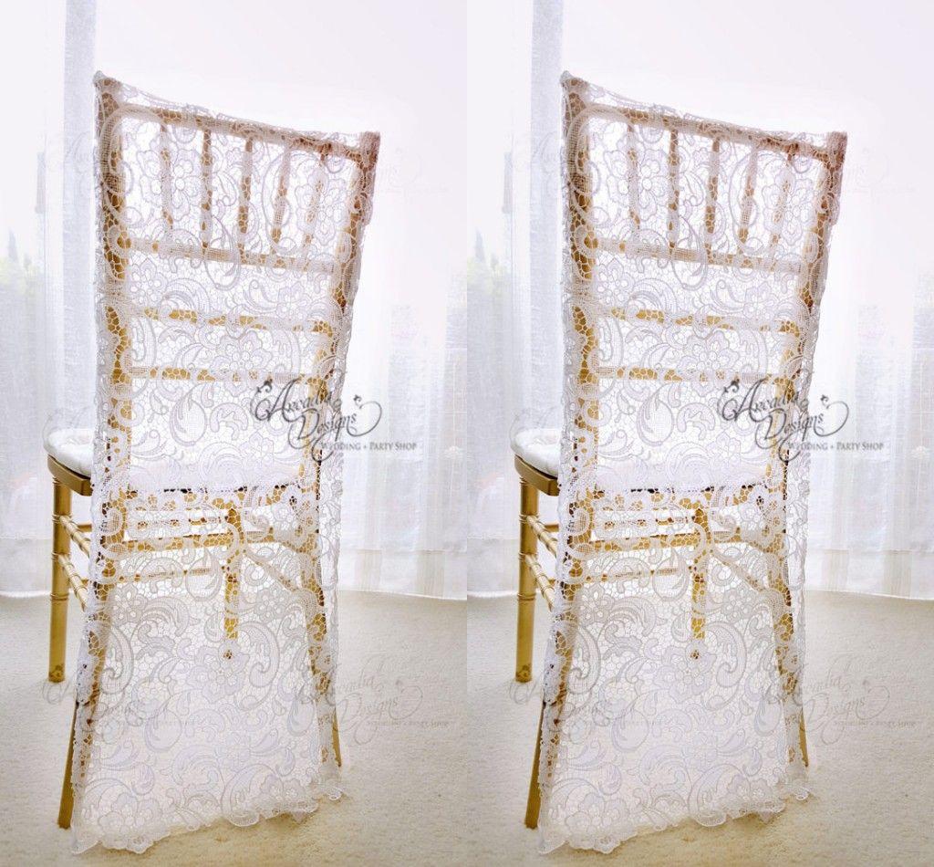 매력적인 화이트 레이스 웨딩 의자 커버 사용자 정의 신랑과 신부 Chiavari 의자 슬리퍼 웨딩 액세서리