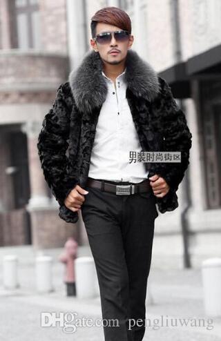 Черный воротник стойка теплая короткая шуба из искусственного меха мужская кожаная куртка мужское пальто Villus зима верхняя термобелье британский стиль 75631548945754