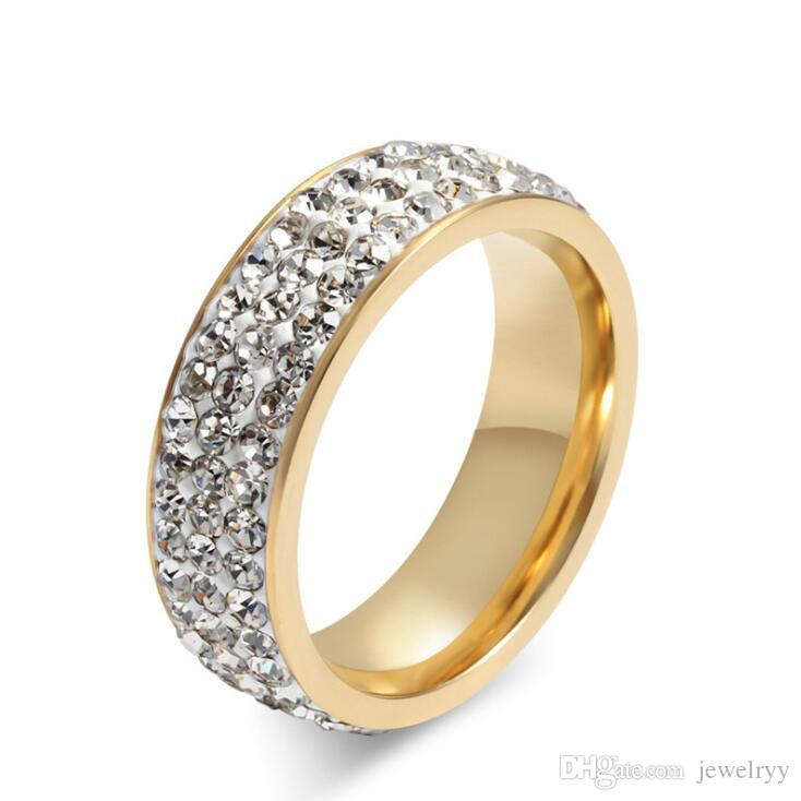 Anello di cristallo pieno di modo anello di titanio acciaio anelli donne gioielli regali uomini anelli di fidanzamento coppia di fidanzati