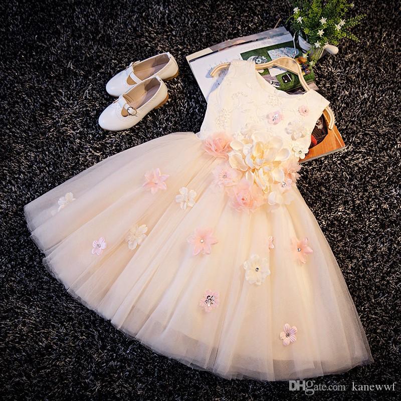 Mit pailletten Applikationen Blumenmädchen Champagner Taufe Hochzeit Persönlichkeit Pageant Kleid Baby Ballkleider Kind Brautjungfer Kleidung