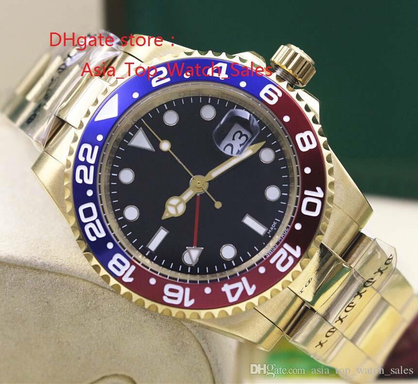 جودة عالية ووتش + المربع الأصلي آسيا 2813 حركة الميكانيكية 40MM أحمر أزرق السيراميك مدي بتوقيت جرينتش 116718 الساعات الميكانيكية التلقائية للرجال