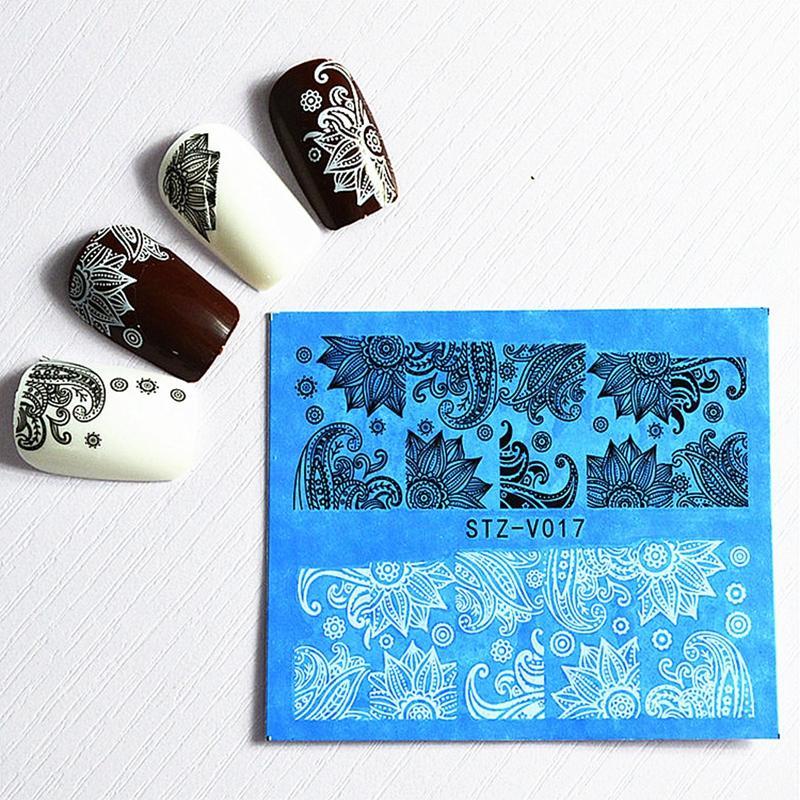 Profesional 48 unids / lote Nail Art DIY etiqueta engomada de la transferencia de agua calcomanías negro / blanco completo consejos encanto de la belleza del cordón de la flor manicura envuelve