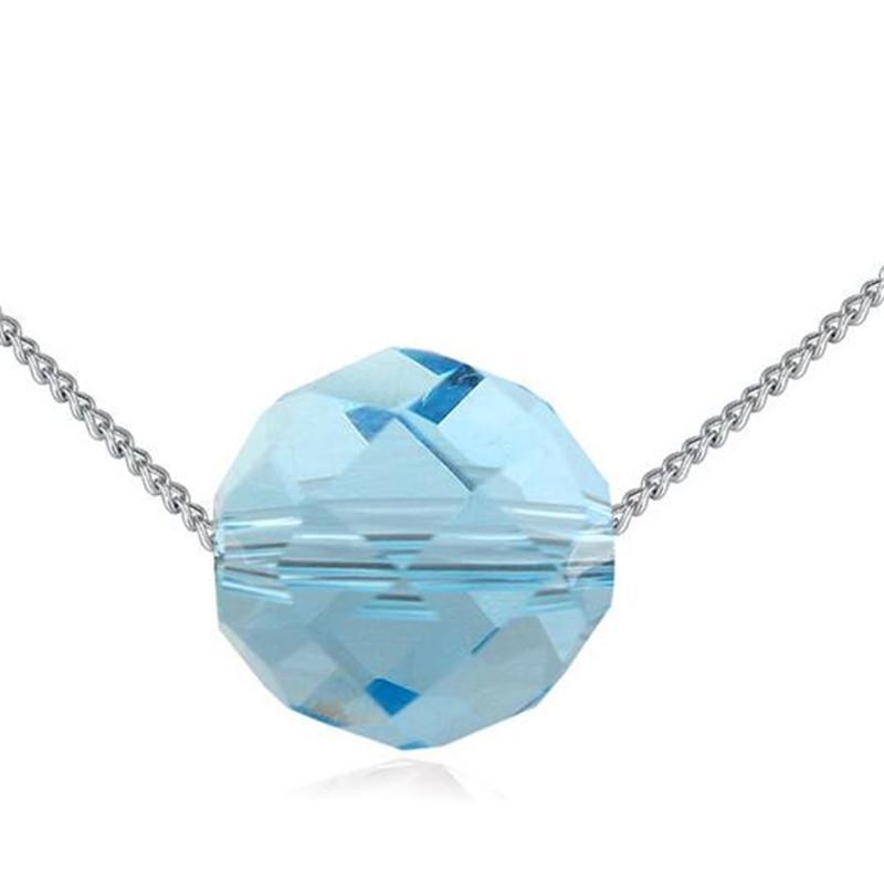 Blue Crystal Perles colliers avec des cristaux de Swarovski Elements Femmes de haute qualité Collier Pendentifs plaqué or blanc 24045
