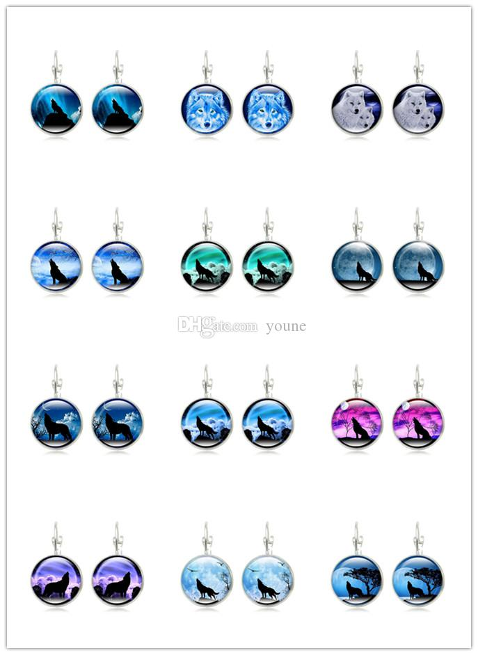Hot Sell !20pair Wolf Stud Earring For Women Glass Cabachon Bezel Brincos Perola Art Photo Dome Round Earrings Fashion Jewelry