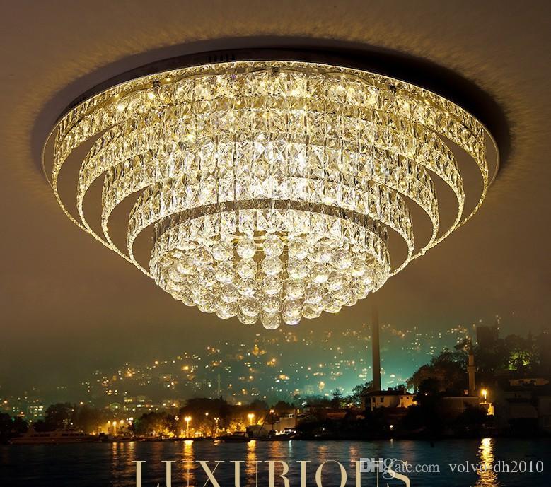 lampe de cristal, atmosphère circulaire, vivante lampe ambiante, conduit, hall villa, phare, lampe de restaurant multicouche créatif, contro à distance lLLFA