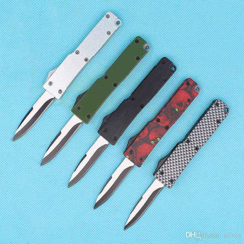 Mini AUTO tactical knife 440C Steel Blade Small EDC keychain Pocket knives Camping Hiking Survival Gear