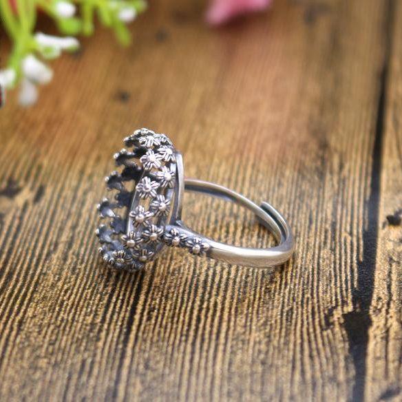 Art Deco Sterling Silver 925 Art Deco Flower 16x17mm Oval Cabochon Semi Mount Wedding Ring Fine Silver Women Vintage Ring