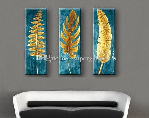 3 Panel Pure Hand Painted Modern Abstract Art Oil Painting The Golden Leaf,Home Wall Decor On High Quality Canvas in custom sizes