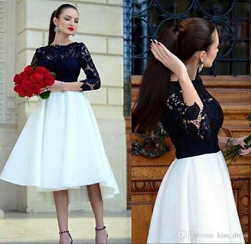 White and Black Short Prom Dresses 2019 New Hot Selling Jewel Neckline A-Line 3/4 Long Sleeve High Low Lace Formal Party Evening Gowns P266