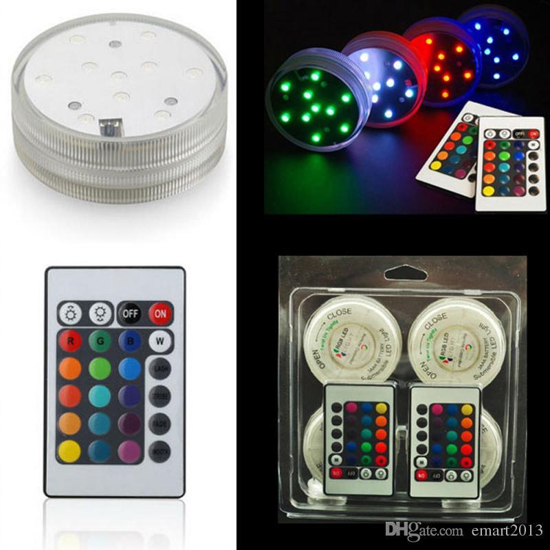 12 stks / partij Dompelbare LED-licht, kleurverandering LED vaas lichte basis, op afstand bediende vaas als bruiloft Floralytes bloemendecoratie