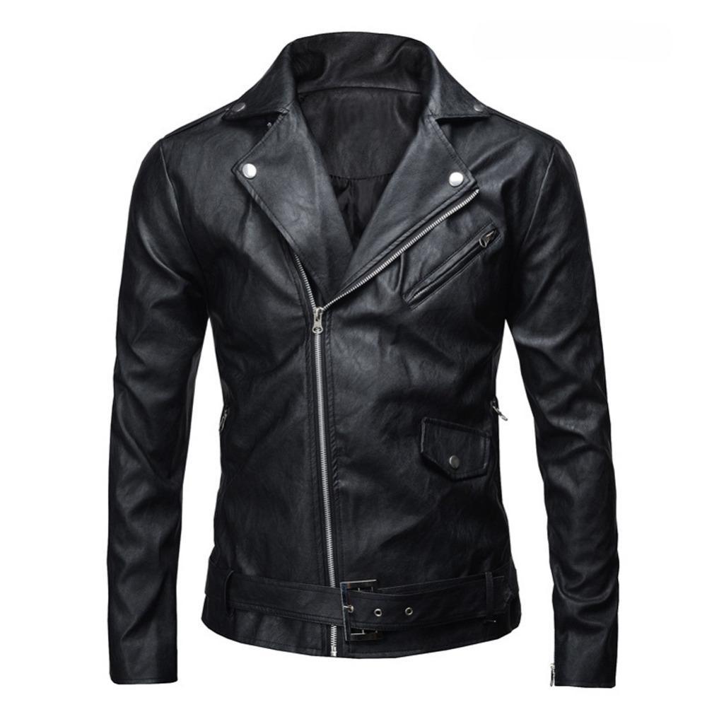 Atacado- 2017 PU jaqueta de couro homens casaco básico de lã de couro dos homens jaquetas de couro fino motocicleta jaquetas Trench Parkas Plus Size XXXL