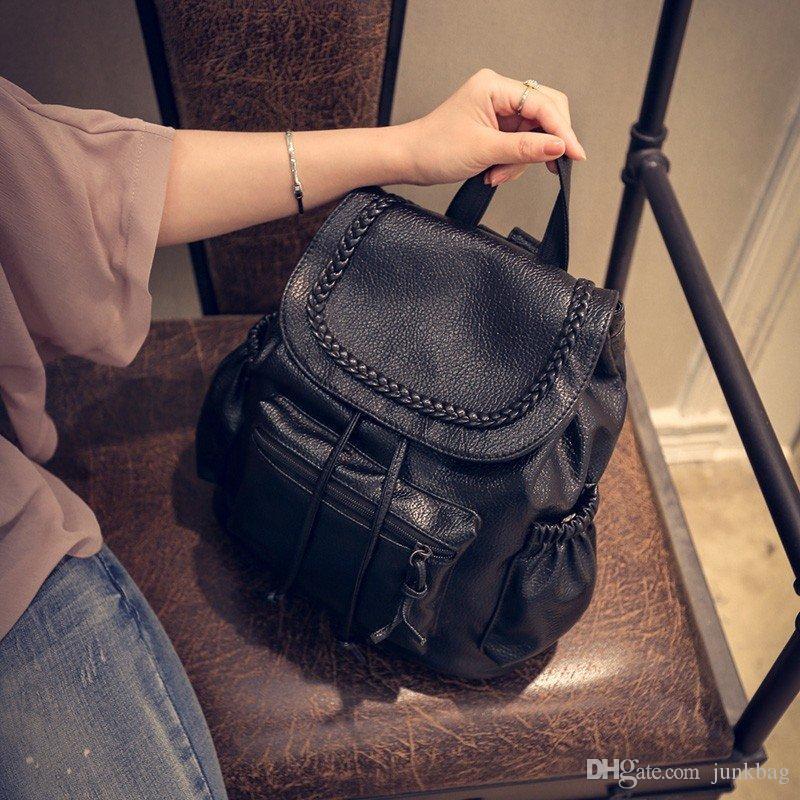 Sac à bandoulière double femelle sud-coréen édition pu fashion school feng pack école feng sac le nouveau style de la nouvelle tendance de 2017 nouvelle marée