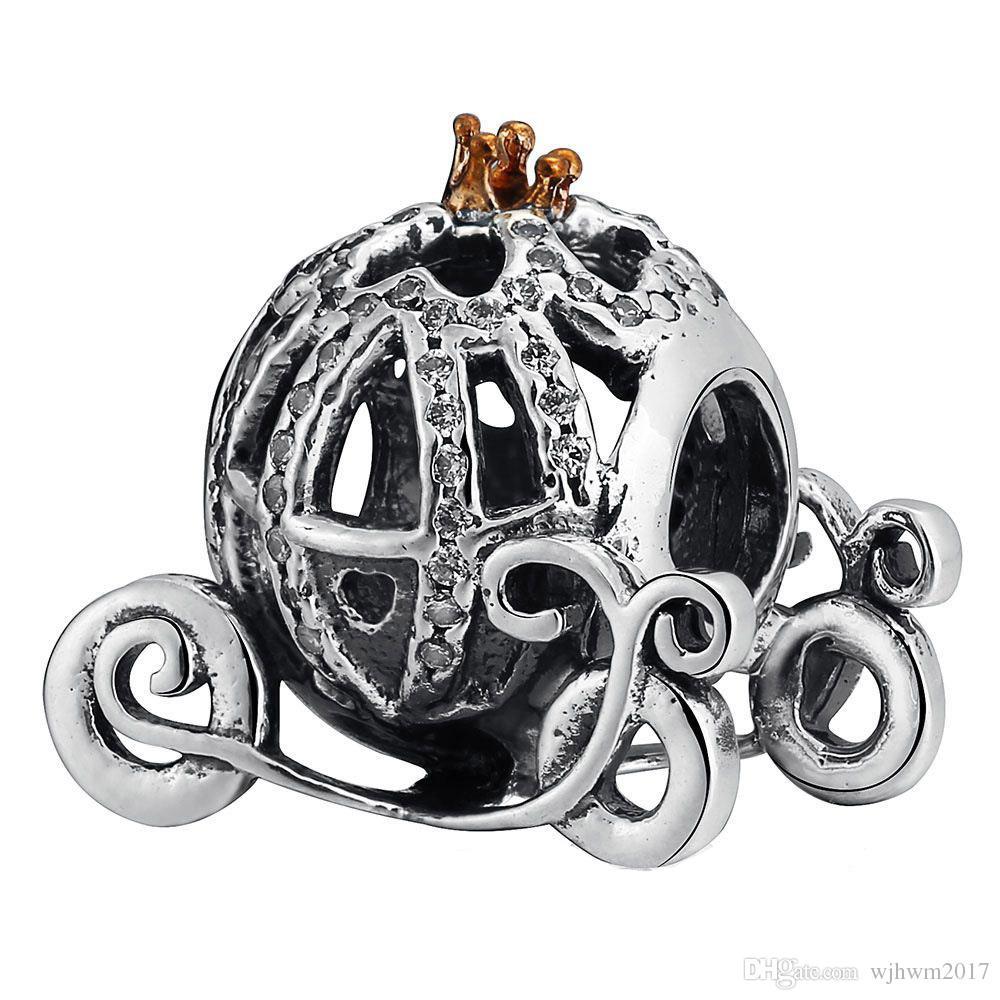 Authentic 925 Sterling Silver Cinderella Pumpkin Beads Gold Plated Crystal Rhinestone Pumpkin Bead Fits DIY Brand Bracelets Jewelry