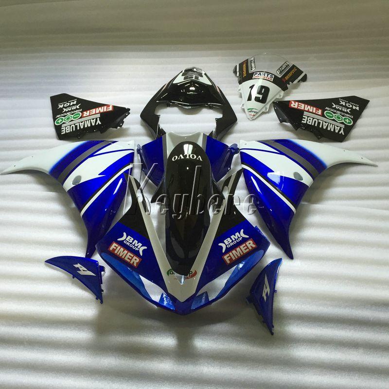 Carene motociclistiche per Yamaha YZF R1 09 10 11 12 13 14 carenatura per stampaggio a iniezione nero blu YZFR1 2009-2014 OR20