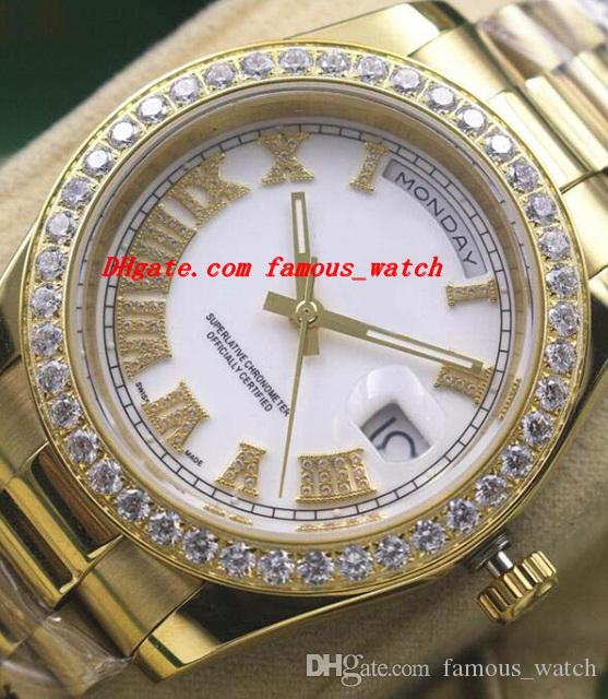 Luksusowe Zegarki 2017 Nowe Męskie 18kt Gold White Dial Roman 118348 Diamond Bezel 41mm Automatyczne Marka Marka Zegarek Zegarek
