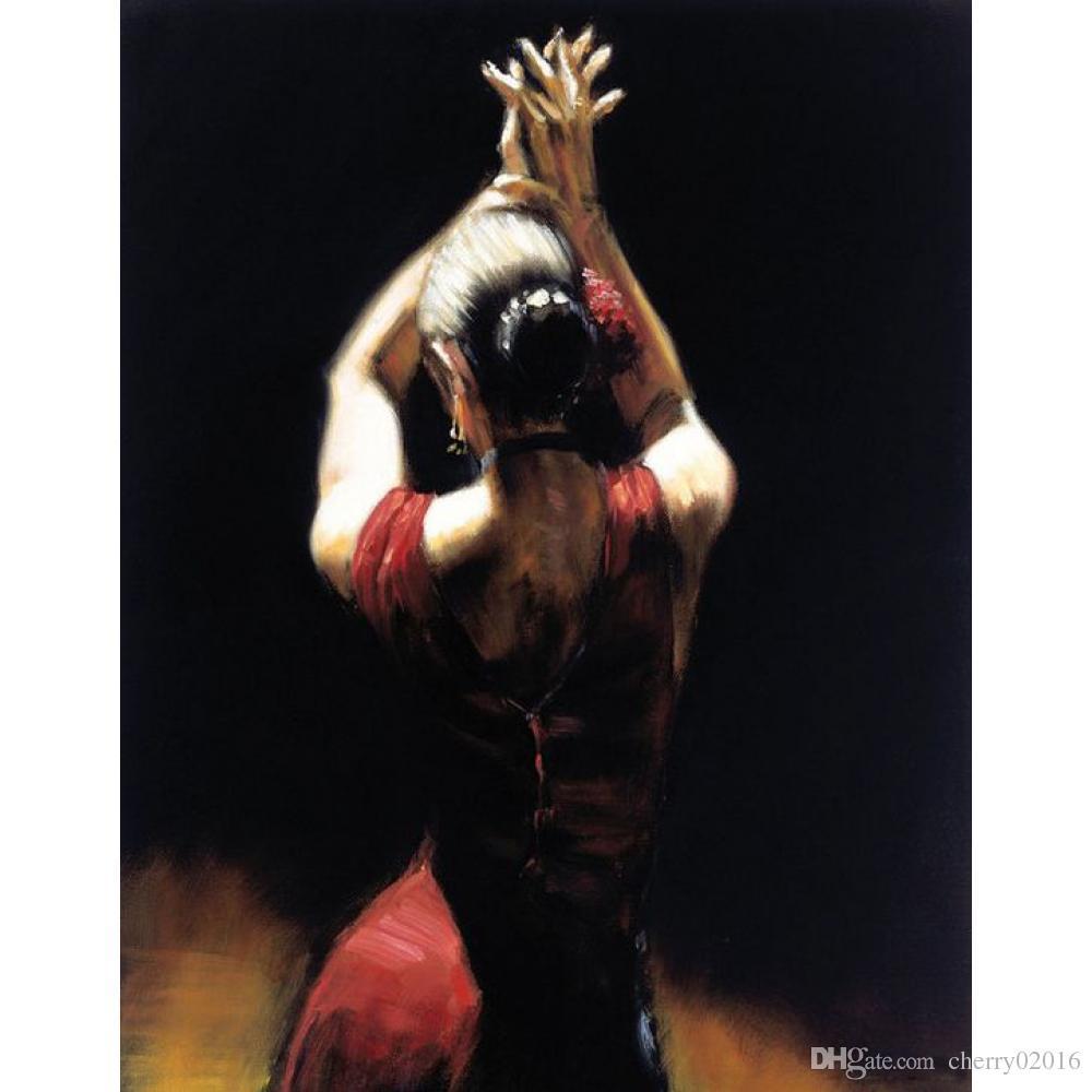 Ручная работа женщина художественные картины танцовщица фламенко в Красном холст, масло для домашнего декора