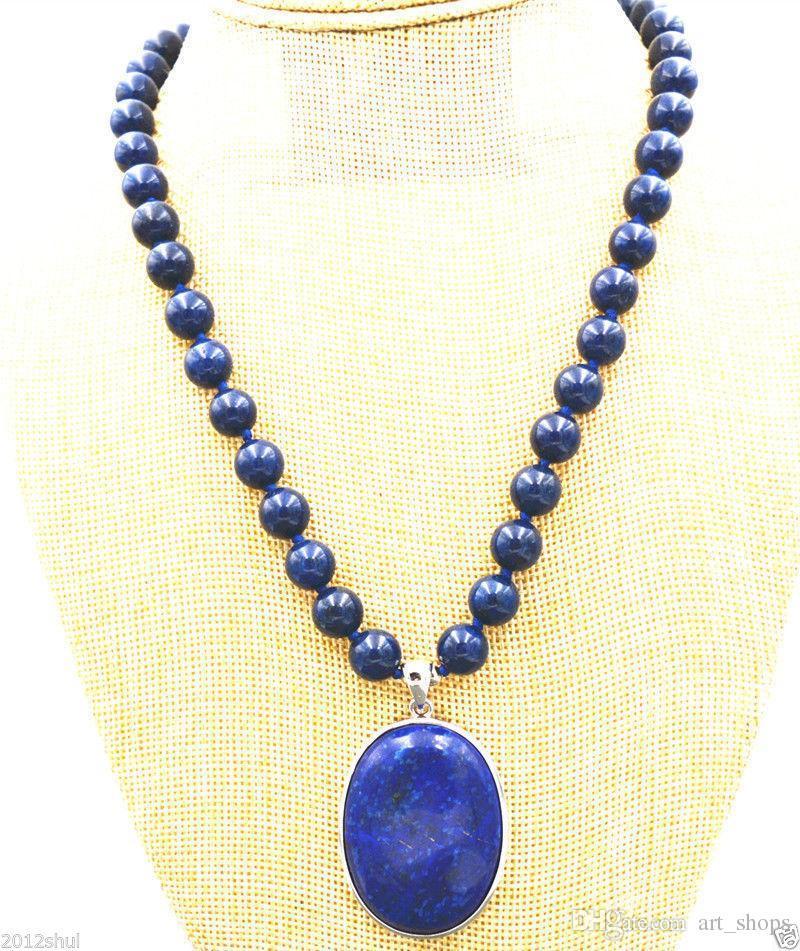 "Nobby 8mm Bleu Lapis Lazuli Perles Perles 30x40mm Pendentif Collier 18 """