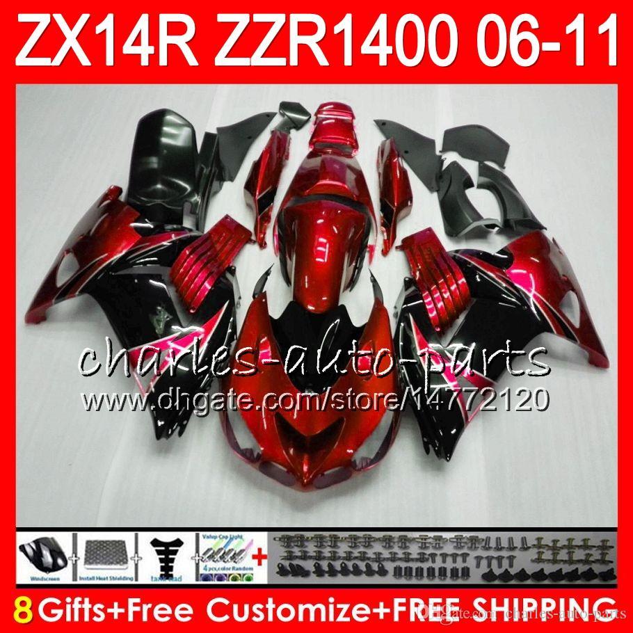 Тело Для KAWASAKI ZZR1400 14 R ZX14R 06 07 08 09 10 11 63HM11 Pearl Red ZZR 1400 ZX14R ZX 14R 2006 2007 2008 2009 2010 2011 обтекатель