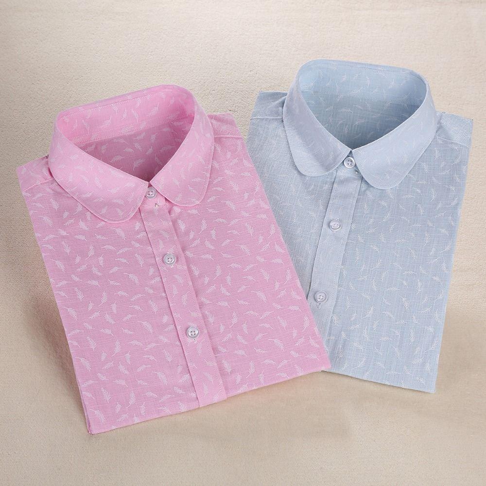 Старинные Рубашки Женщины Блузки Цветочный Принт Топы Женский С Длинным Рукавом Дамы Blusas Хлопок Белье Рубашка Плюс Размер Одежды Для Женщин