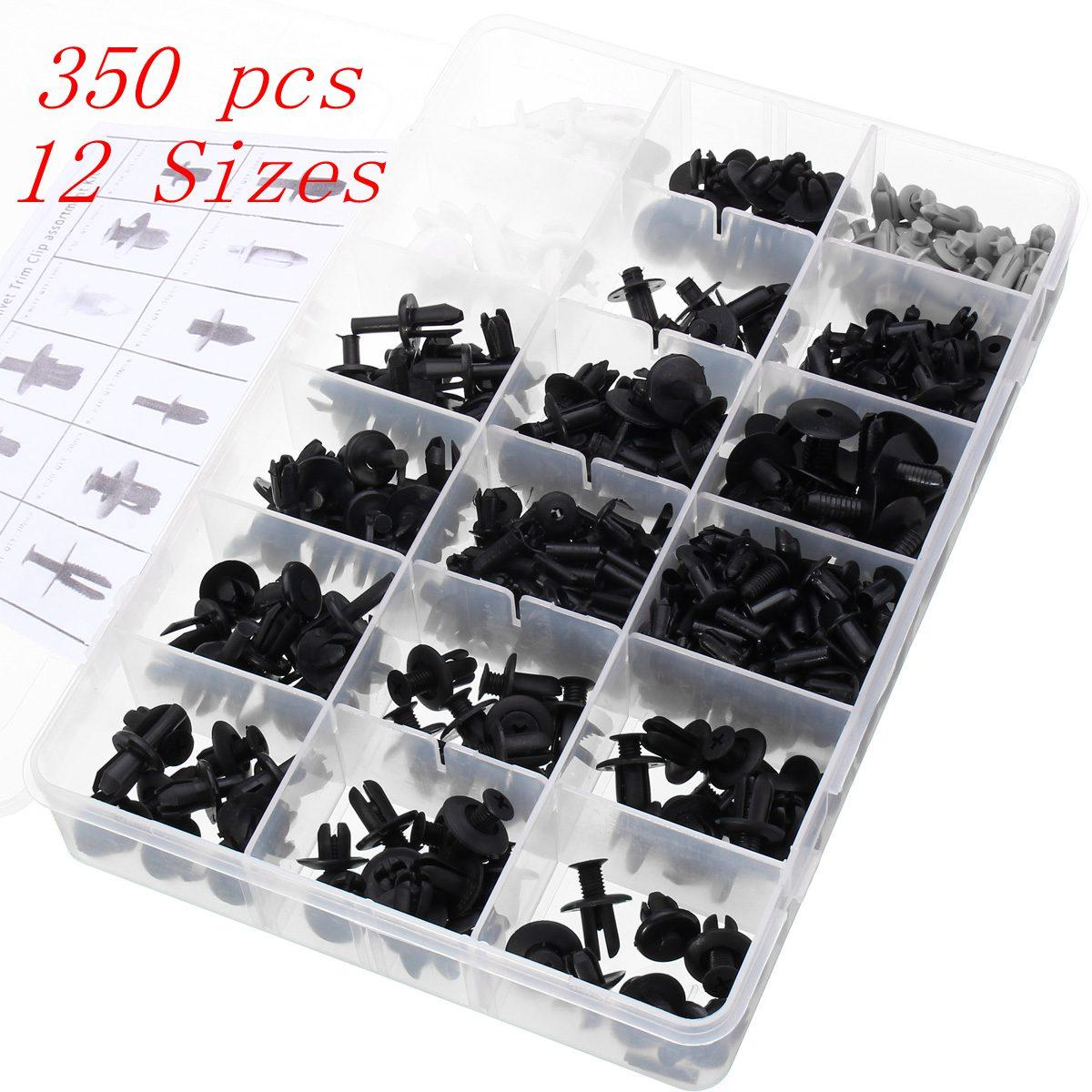 12 Sizes 350pcs Exterior//Interior Assortments Car Push Pin Rivet Trim Clip Panel