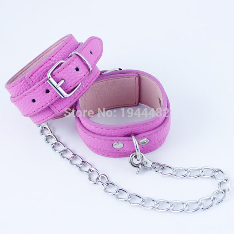 Pink Shackles PU Leather Ankle Cuffs Leg Restraints Fetish Bondage Restraints BDSM Sex Toys for Couples Adult Games Sex Torture Products