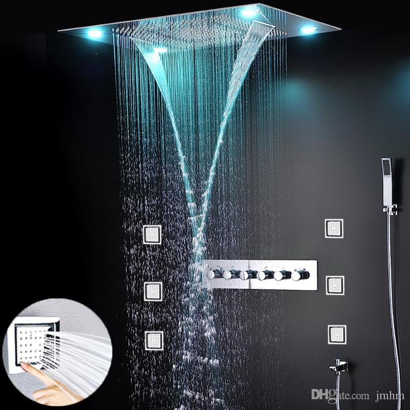 Hotel Body Massge Multifunction Shower Heads LED Remote Control Concealed Shower Set Rain waterfall Spa Shower Faucet