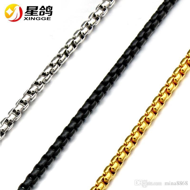 Top qualité fait main bricolage en acier inoxydable collier pour mens Womens collier lien chaîne collier 3 MM longueur 60 CM