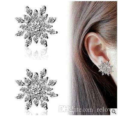 Kadın kar tanesi küpe Noel Kore versiyonu dolu elmas ccrystal takı hipoalerjenik kulak kadın Nokta